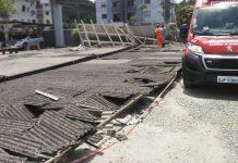Cobertura do estacionamento da Celesc cai e atinge trabalhador em Joinville